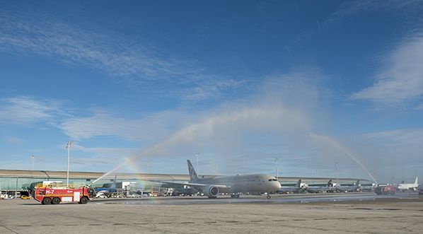 Etihad Airways' inaugural flight between Barcelona and Abu Dhabi is greeted with a customary water cannon salute on departure from Barcelona-El Prat