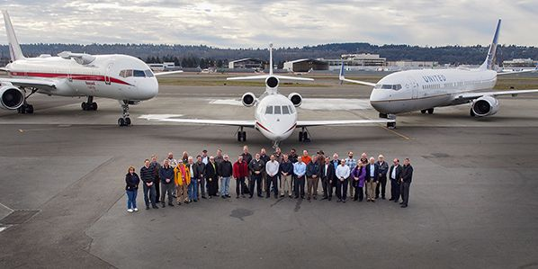 The ATD-1 project team, with the three test aircraft