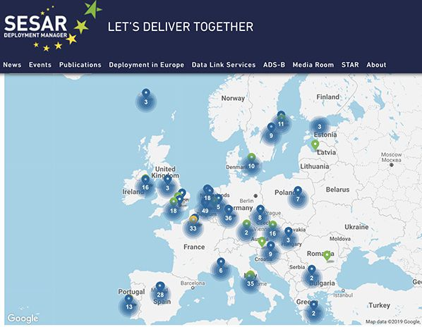 SESAR-projects-map Pictured are the locations of the fully completed air traffic modernisation projects being deployed by SESAR Deployment Manager and supported by all stakeholders.