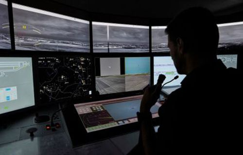 Air traffic controller working position in the Remote Tower Control Centre in Leipzig, Germany