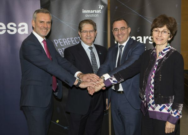(L-R): Thierry Racaud (ESSP CEO), Joseph Teixeira (Inmarsat VP Aviation Safety and Cybersecurity), Nicolas Warinsko (SESAR DM General Manager) and Magali Vaissiere (ESA Director of Telecommunications & Integrated Applications) celebrate the Iris programme entering implementation phase at World ATM Congress.