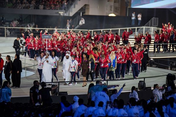 Etihad Airways Cabin Crew walking with Team Great Britain in the Opening Ceremony