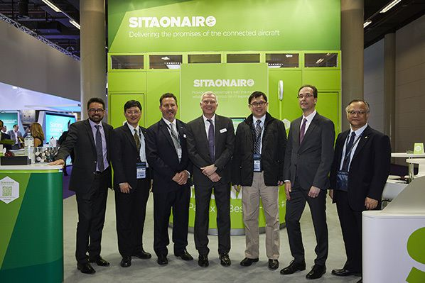 Senior Starlux Airlines, SITAONAIR and Inmarsat Aviation representatives at SITAONAIR IFEC Zone stand 3C10 at Aircraft Interiors Expo 2019. Pictured left-right: Yann Cabaret, VP Customer Programs & Cabin Services, SITAONAIR, Steve Huang, Senior VP, Corporate Planning, Starlux Airlines, Sean Lund, SVP Cabin Connectivity, Inmarsat Aviation, Philip Balaam, President of Inmarsat Aviation, KW Chang, Founder & Chairman, Starlux Airlines, David Lavorel, SITAONAIR CEO, and Martin Chou, VP Corporate Planning, Starlux Airlines.