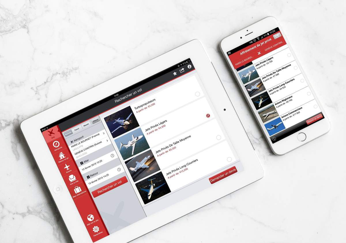 App mobile et tablette PrivateFly 3550x2496
