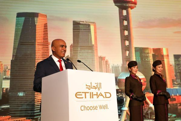 H.E. Dr. Ali Obaid Al Dhaheri, UAE Ambassador to China speaks at the ceremony for Etihad Airways Boeing 787-10 Dreamliner to Shanghai