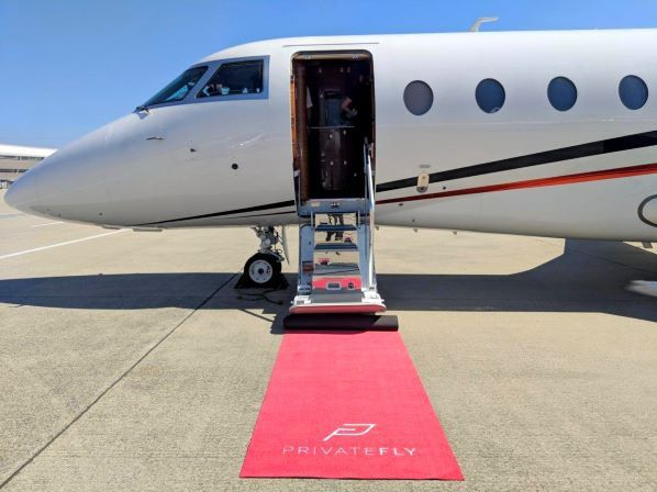 Gulfstream G200 and PrivateFly red carpet