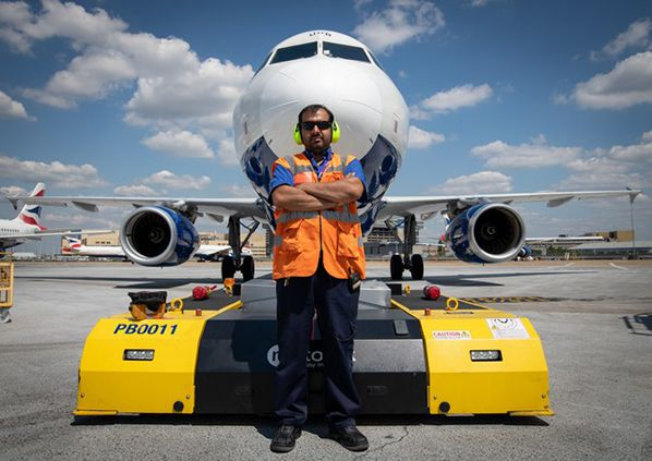 Mandeep Johal pushed the 100,000th British Airways aircraft using a Mototok