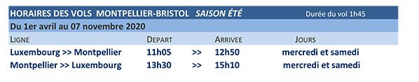 horaire montpellier luxembourg luxair
