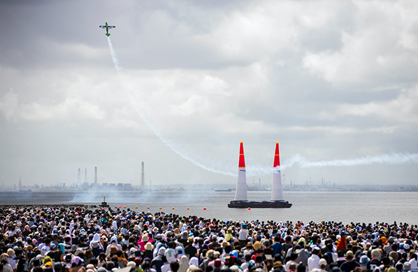Francois Le Vot of France performs during the finals at the fourth round of the Red Bull Air Race World Championship at Chiba, Japan on September 8, 2019.