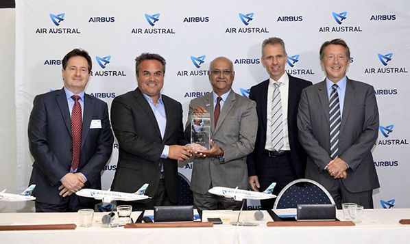 Air Austral's firm order for three single-aisle A220 aircraft is marked by (from left to right): Joel Boff, Senior Sales Director Europe, Airbus; Didier Robert, President of Sematra; Marie-Joseph Malé, CEO Air Austral; Kimon Sotiropoulos, SVP Central and Northern Europe, Airbus; and Christopher Buckley, EVP Commercial, Airbus ©Airbus