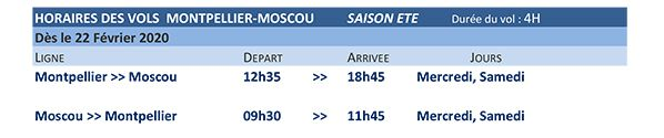 horaires montpellier moscou ural airlines