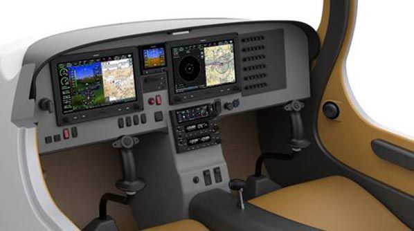 Artist rendering of eFlyer 2's next-gen instrument panel and electric propulsion system displays