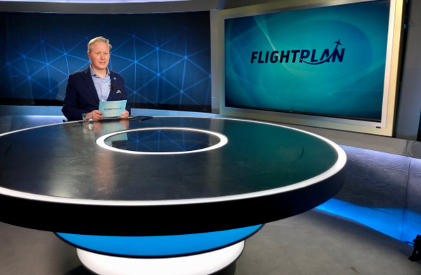 Inmarsat Aviation Vice President Dominic Walters at the FlightPlan studio