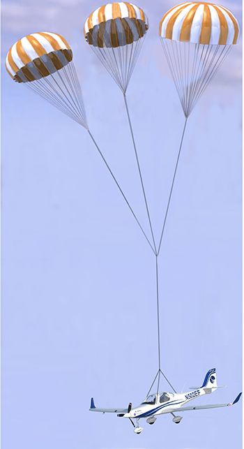 aerobernie Artist rendering of ASR recovery parachute system for eFlyer 2.