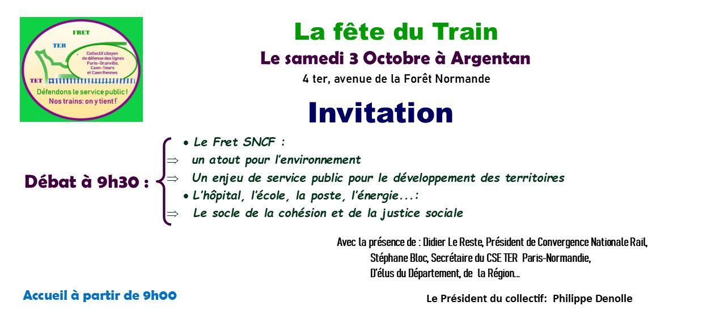 FÊTE DU TRAIN ET DES SERVICES PUBLICS LE 3 OCTOBRE 2020 A ARGENTAN - ORNE