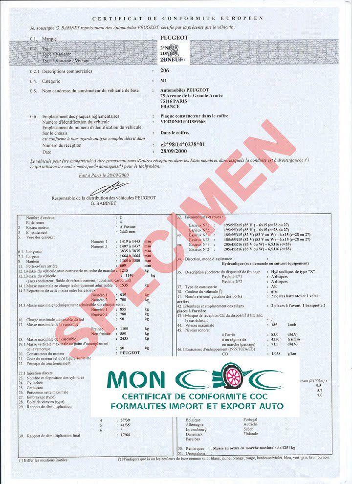 Certificat de conformité PEUGEOT pas che