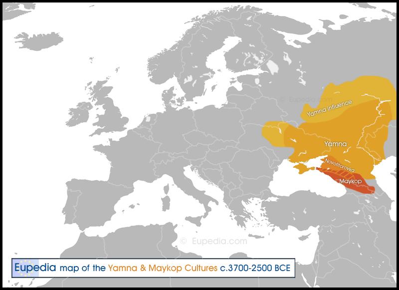 Les Cultures de Yamna et de Maykop, 3 700 à 2 500 av J.C. et les Cavaliers Yamna, Yamnayas, Caucasiens des Steppes, de la Culture des Kourganes (Tombes en Fosse), d'haplogroupe (Y-DNA un peu I2, majoritairement R1b, un peu J1 caucasien ) à l'âge du Bronze ?