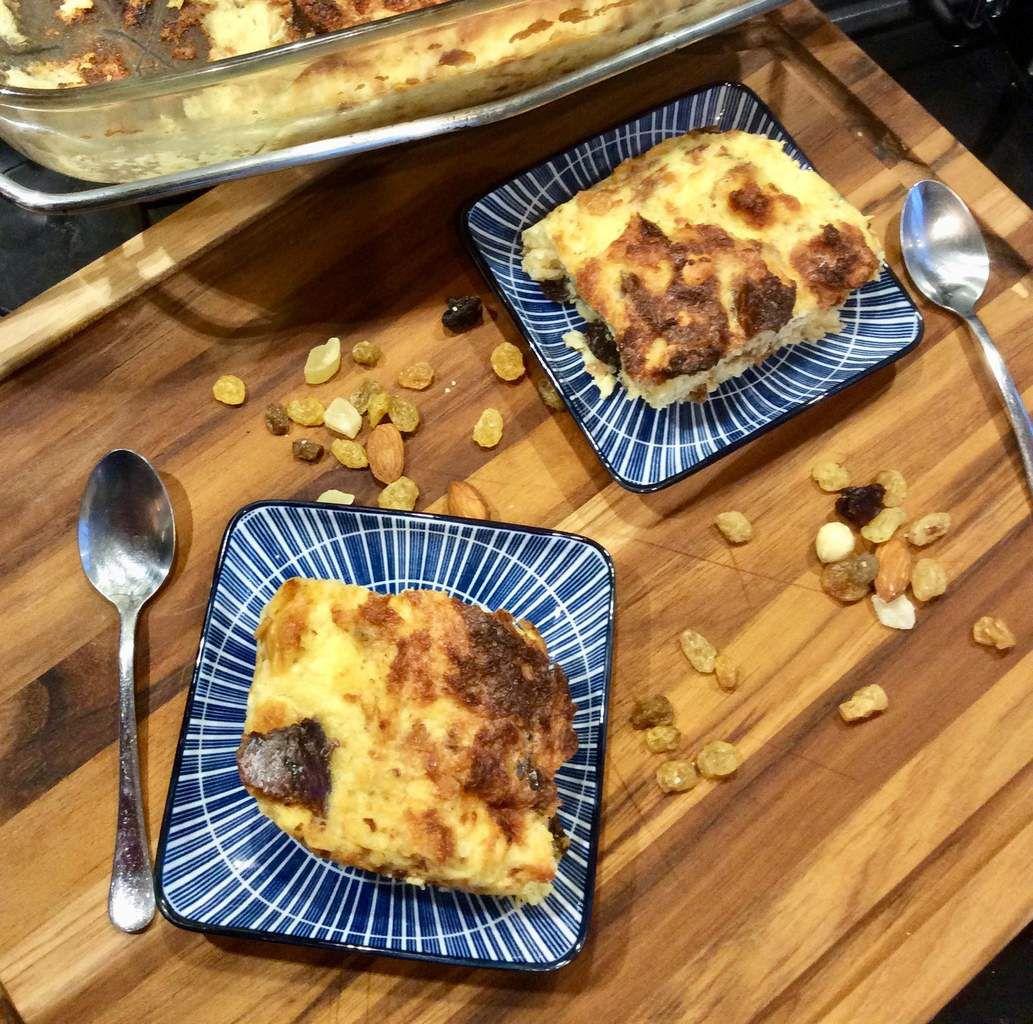 pudding de brioche aux fruits secs et au rhum