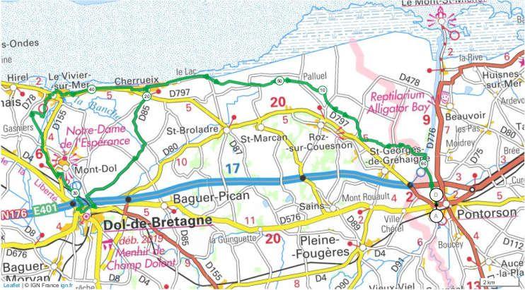Parcours Pontorson / Dol de Bretagne, 62,4 km