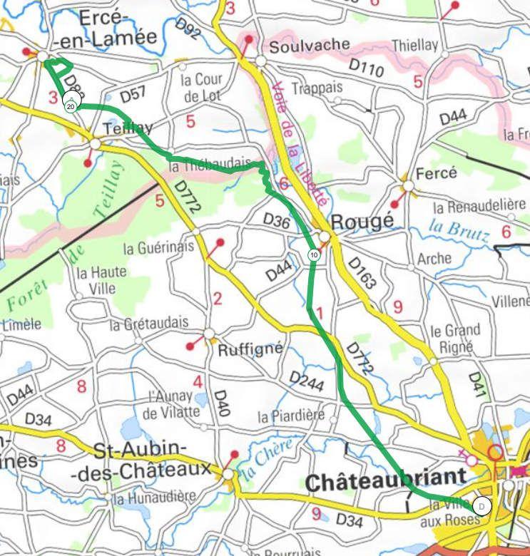 """""""Châteaubriant à Ploërmel"""" : Etape 1 - Châteaubriant / Ercé en lamée AR - 44,0 km"""