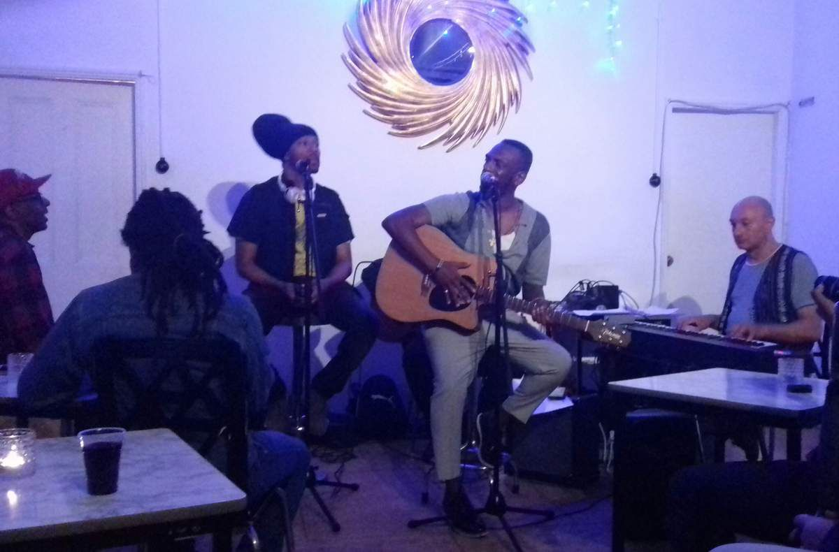 Noel Mc Koy and his Live Band on the left, Noel McKoy with Caro Sika on the right