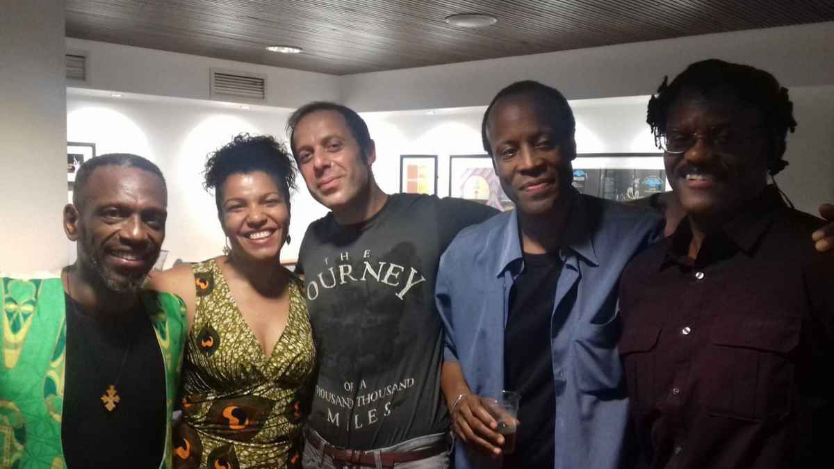 Noel Mc Koy on the left and more of Angelique Kidjo's musicians on the night