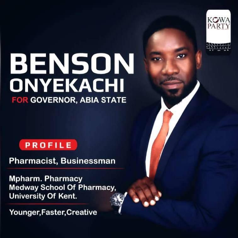 Benson Onyekachi, governorship candidate for Abia State, Nigeria