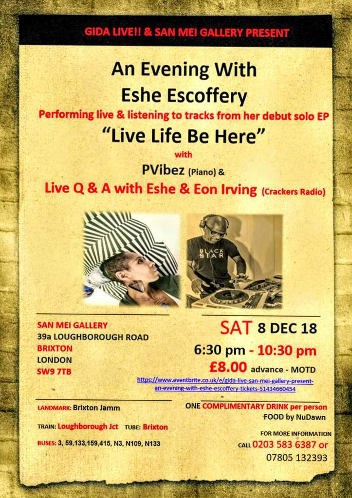 Gida Live & San Mei Gallery present 'An Evening with Eshe Escoffery'