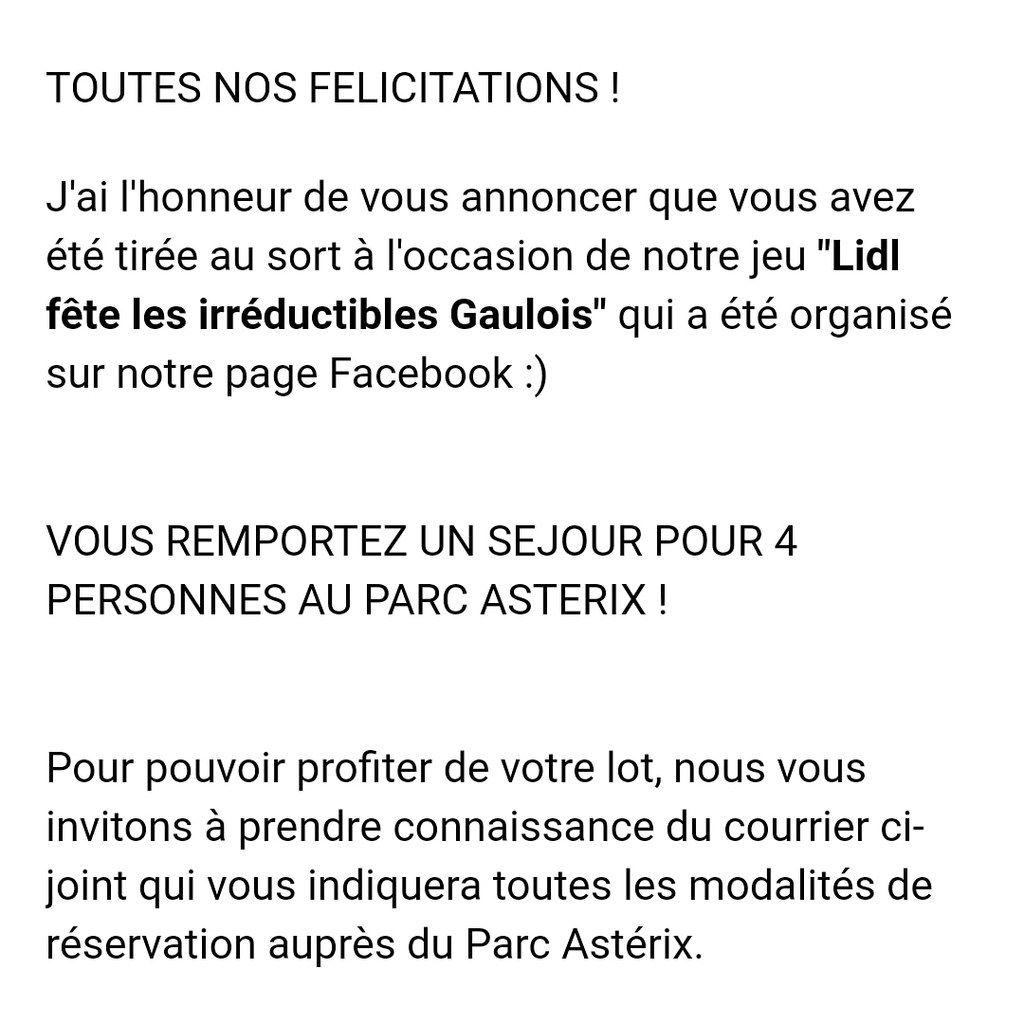 Poh je n'y crois pas ! Je viens de gagner un Séjour pour 4 au Parc Asterix avec Lidl France. Plus qu'à réserver une date. 📆😁 #Serialtesteuse #jaimecequejefais #provoquerlachance #concoursjeuxchance