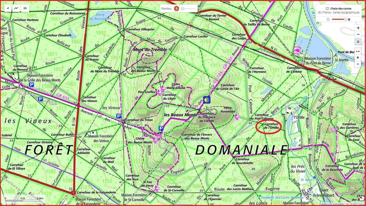 en forêt de Compiègne, le carrefour de l'Ortille