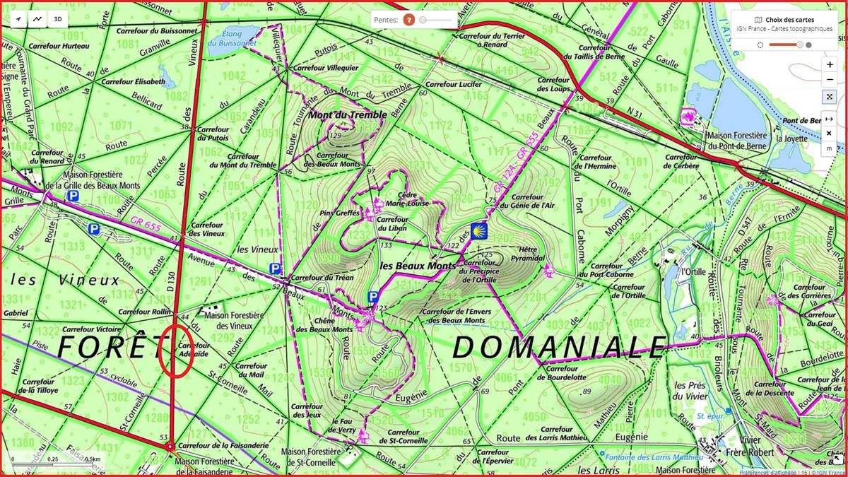 en forêt de Compiègne, le carrefour Adélaïde