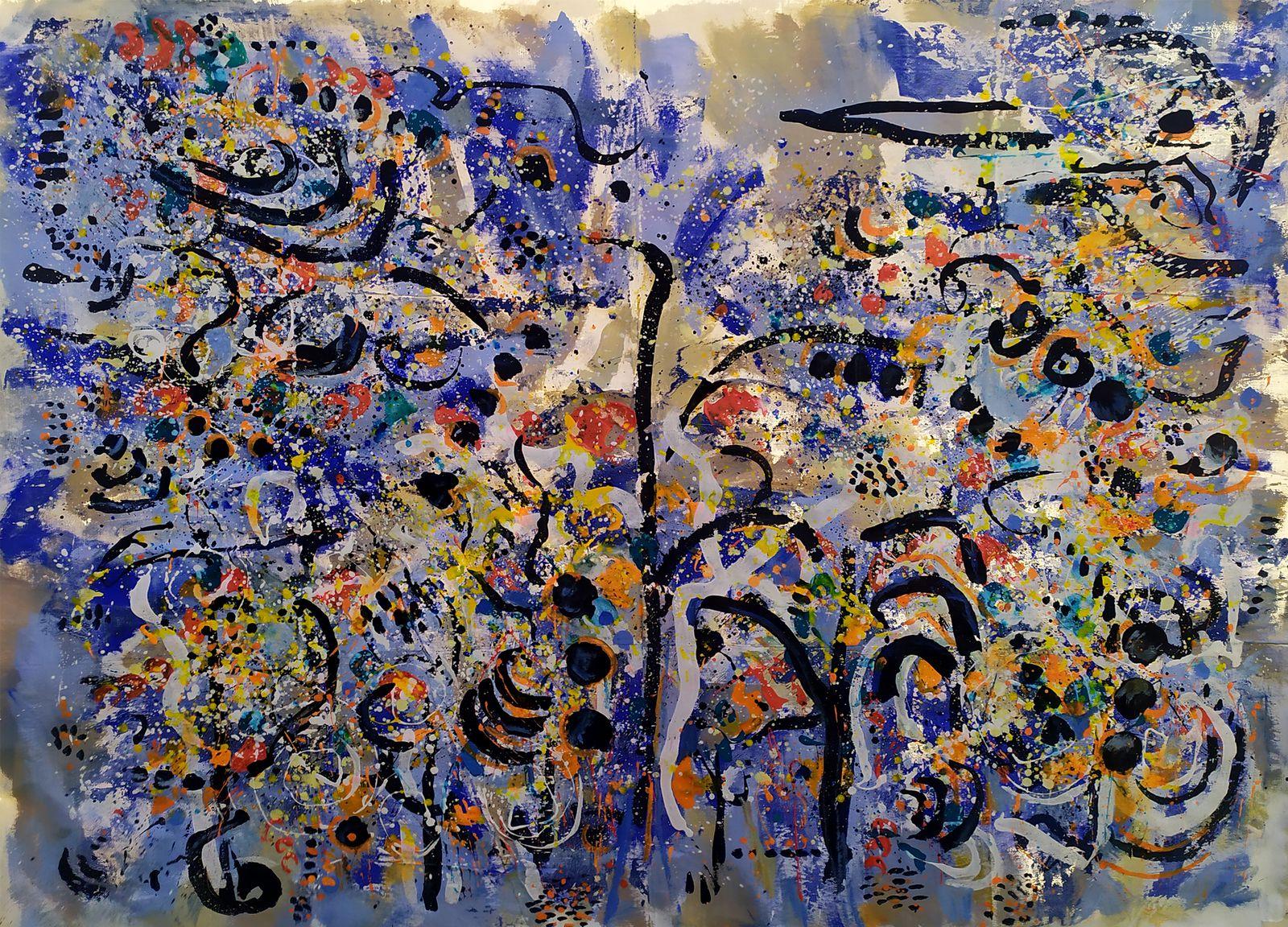 Valse n°2 - Acrylique sur drap de lin - 160 x 220 cm - Muriel CAYET