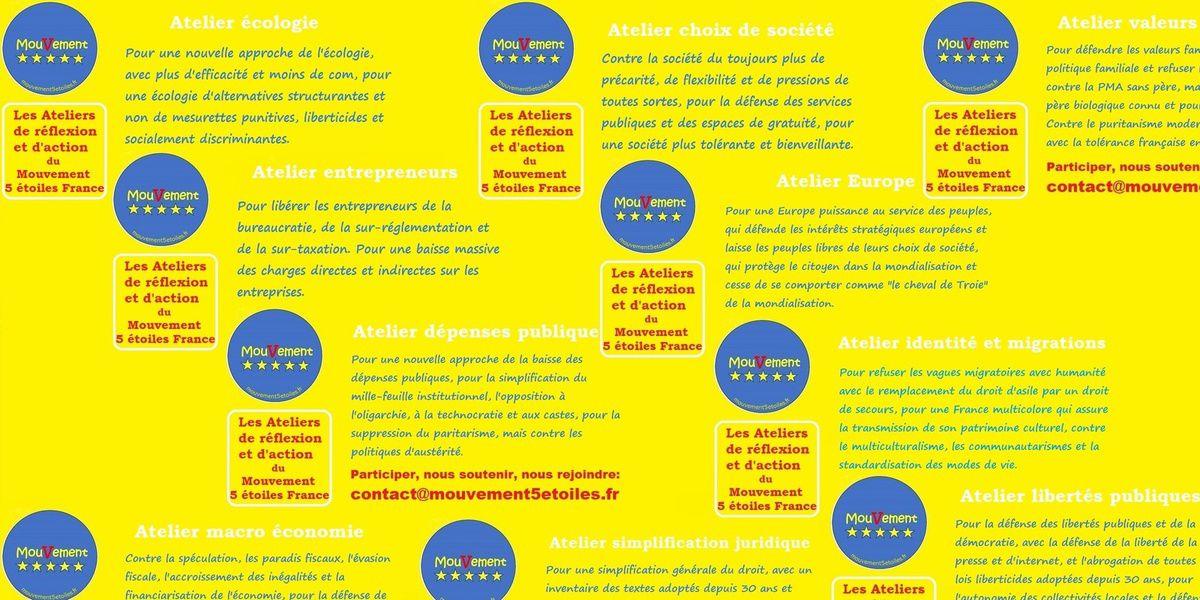 Le mouvement 5 étoiles France lance 10 ateliers...