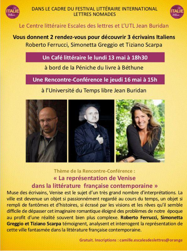 Rencontre-Conférece du jeudi 16 mai « la représentation de Venise dans la littérature française contemporaine»