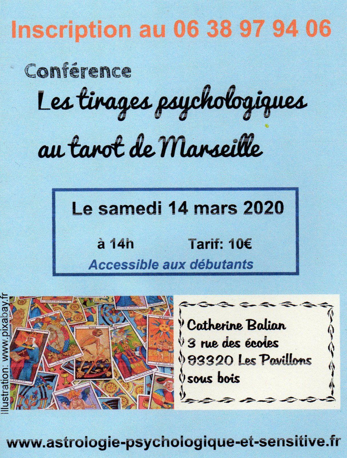 conférence: les tirages psychologiques du tarot deMarseille