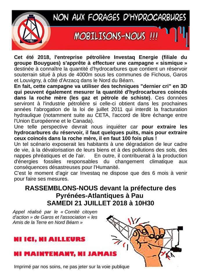 Pau Manifestation 21/07 | Non aux forages d'hydrocarbures dans les Pyrénées Atlantiques