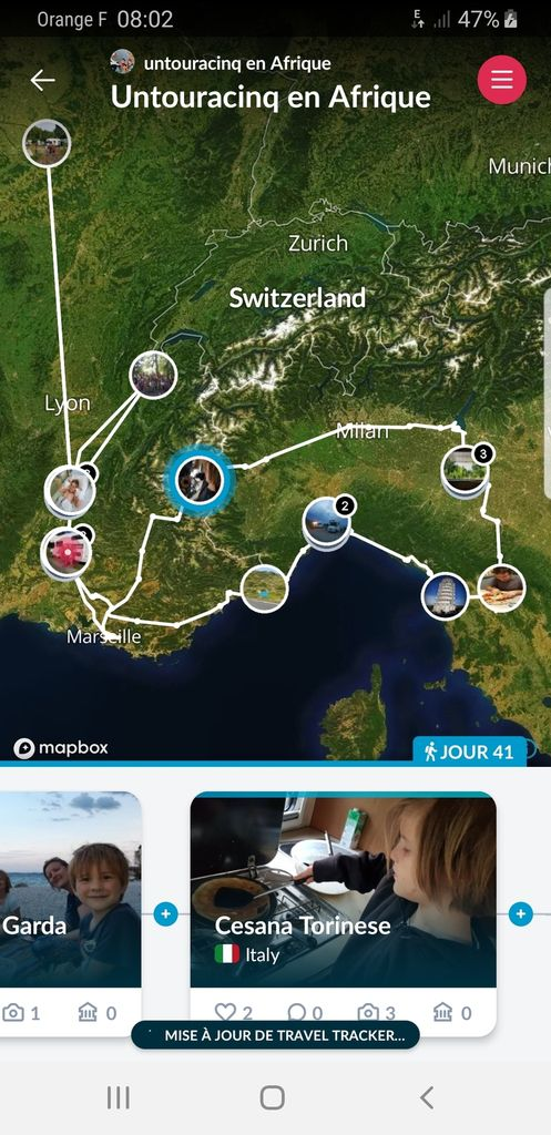 image mise à jour le 20/07/2019 après 46 jours de voyage - cliquez sur le lien au-dessus de l'image pour accéder à l'itinéaire en temps réel !