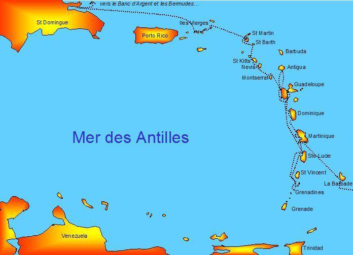 Pour que vous arriviez à suivre, revoici la carte des Antilles.