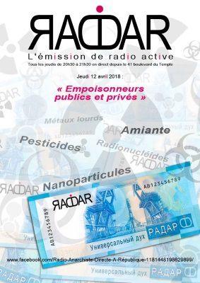 """Thème de l'émission RADAR du 12 avril 2018 : """"Empoisonneurs publics et privés"""""""