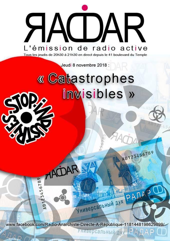 """Thème de l'émission RADAR du 8 novembre 2018 : """"Catastrophes invisibles"""""""