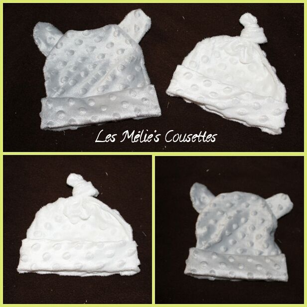 Petit lot de Bonnet en tissu minky 2€ pièce