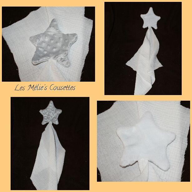 Doudou lange étoile Double gaze de coton ,minky et douillette 5€
