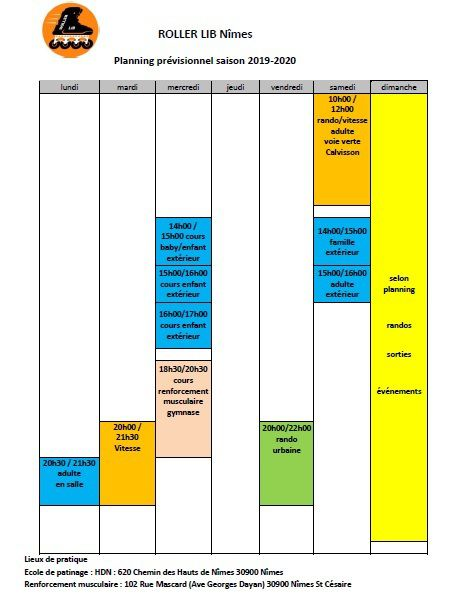 roller lib Nîmes, planning activité, roller nimes, club roller Gard,