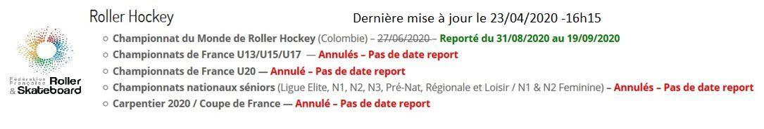 Roller lib Nîmes, Roller Hockey annulé, FFRS, covid 19, coronavirus