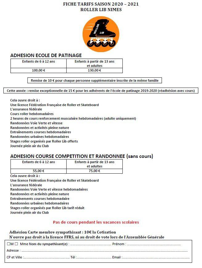 Roller Lib, Nîmes, tarif, prix, adhésion, club, sport, inscription, cours, abonnement