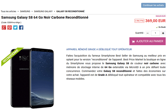 Le Galaxy S8 Noir sur Best Price Market
