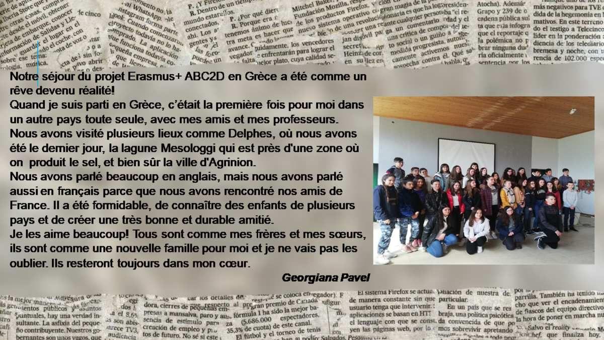 Journal des élèves roumains - Mobilité en Grèce