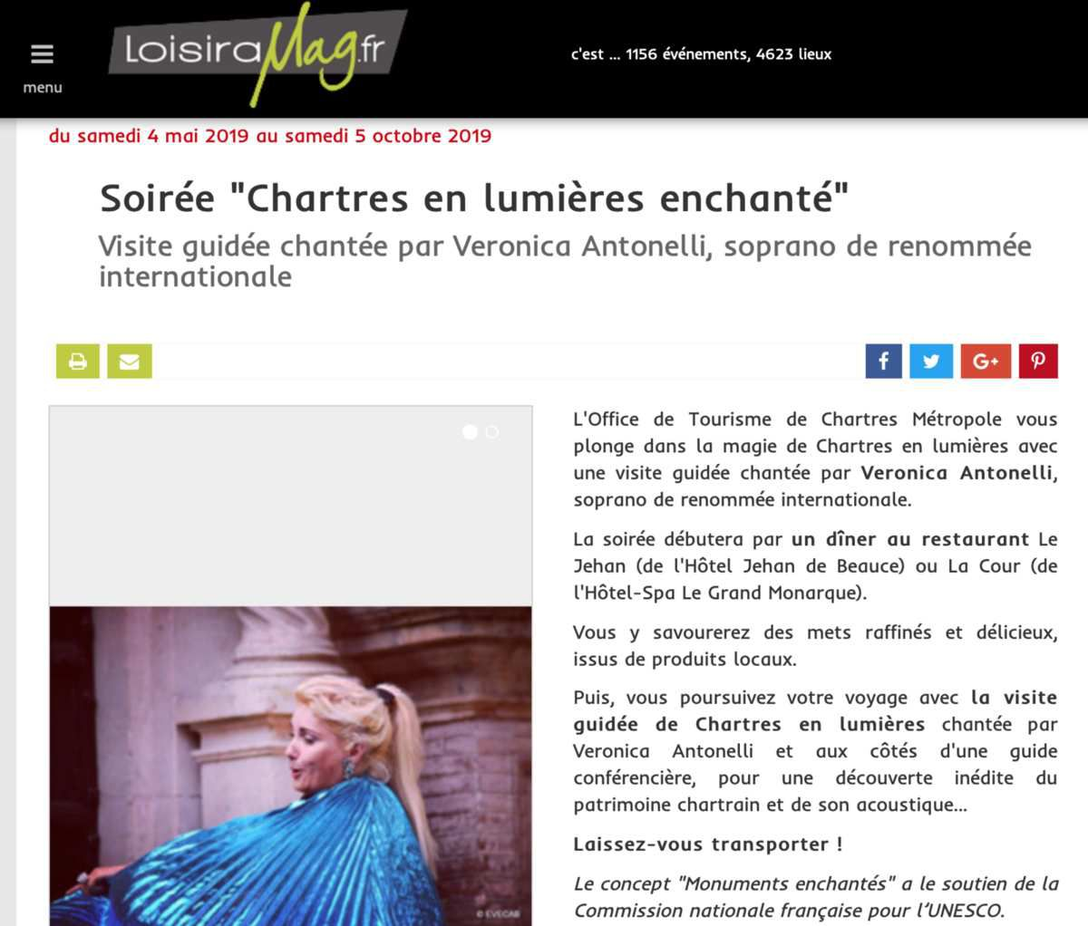Loisiramag Chartres en Lumières enchanté avec la soprano internationale Veronica Antonelli