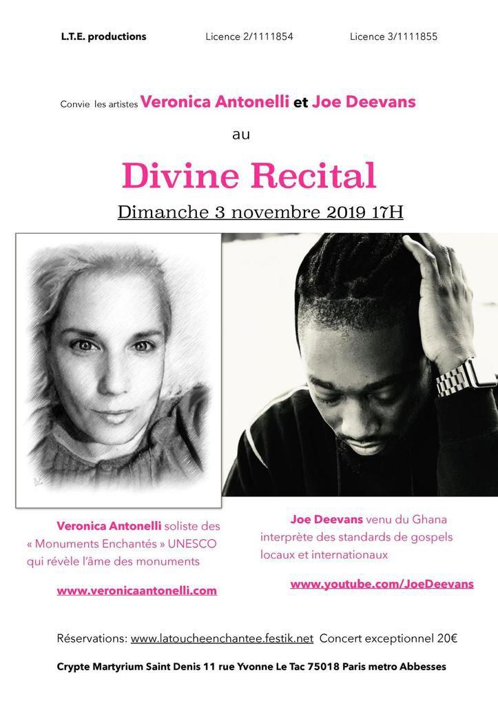 La Touche Enchantee invite au Divine Recital deux grandes voix: Veronica Antonelli et Joe Deevans