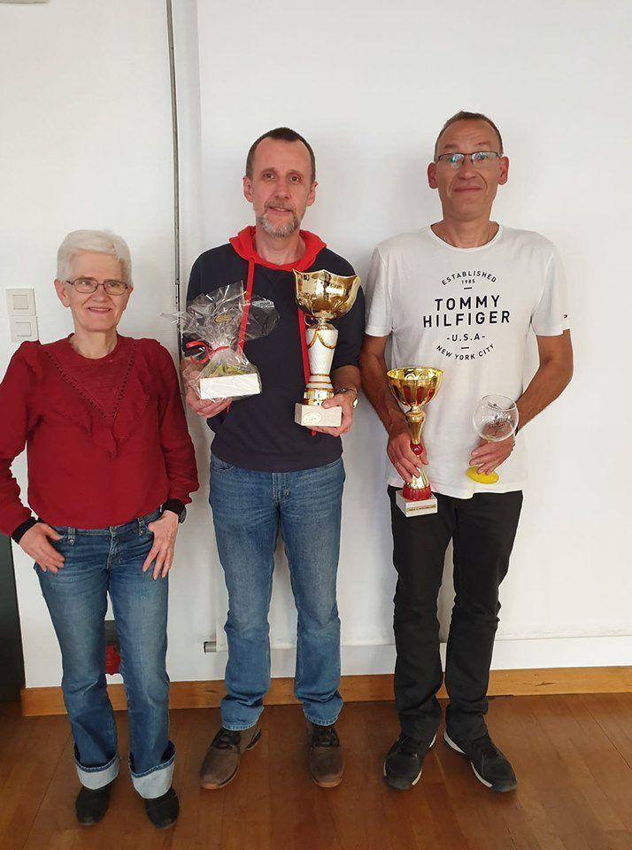 Le podium : Catherine (3), Alain (1) et Thierry (2)